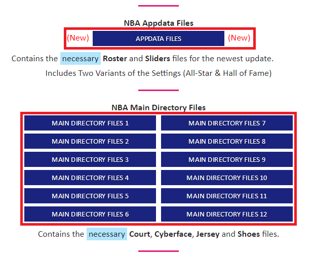 Once you have NBA 2K14 for PC, you need to proceed to the Downloads section  of the website to download all of the following files. For Med's NBA  Roster, ...