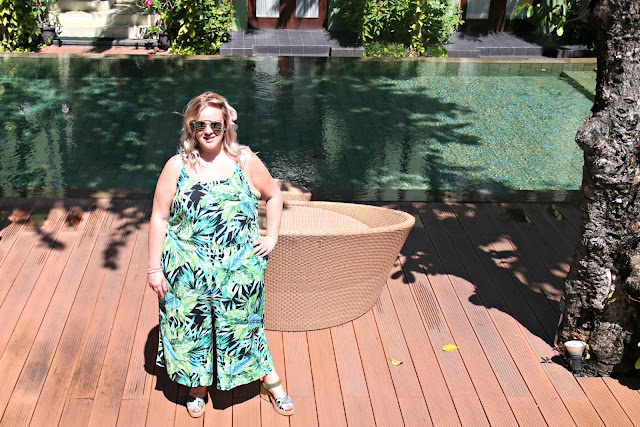 Yours Clothing Tropical Palm Print Plus Size Jumpsuit on WhatLauraLoves in Bali