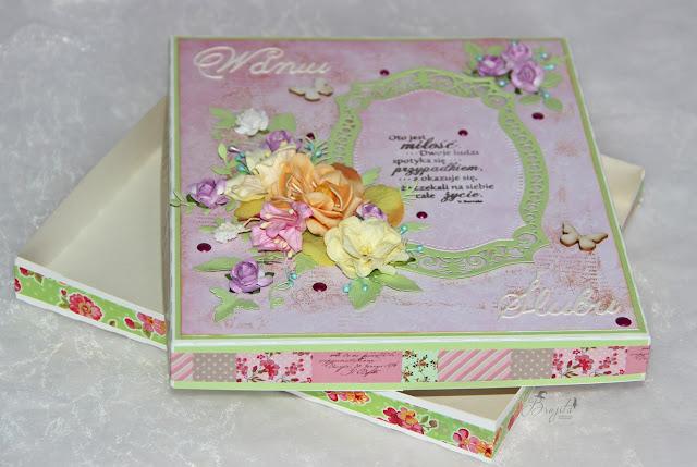 ślubny exploding box, na ślub, prezent, co dać od świadków na wesele, życzenia ślubne, Magiczna Kartka Magia Ombre, I-Kropka inspiracje, pastelove love, kartka w pudełku