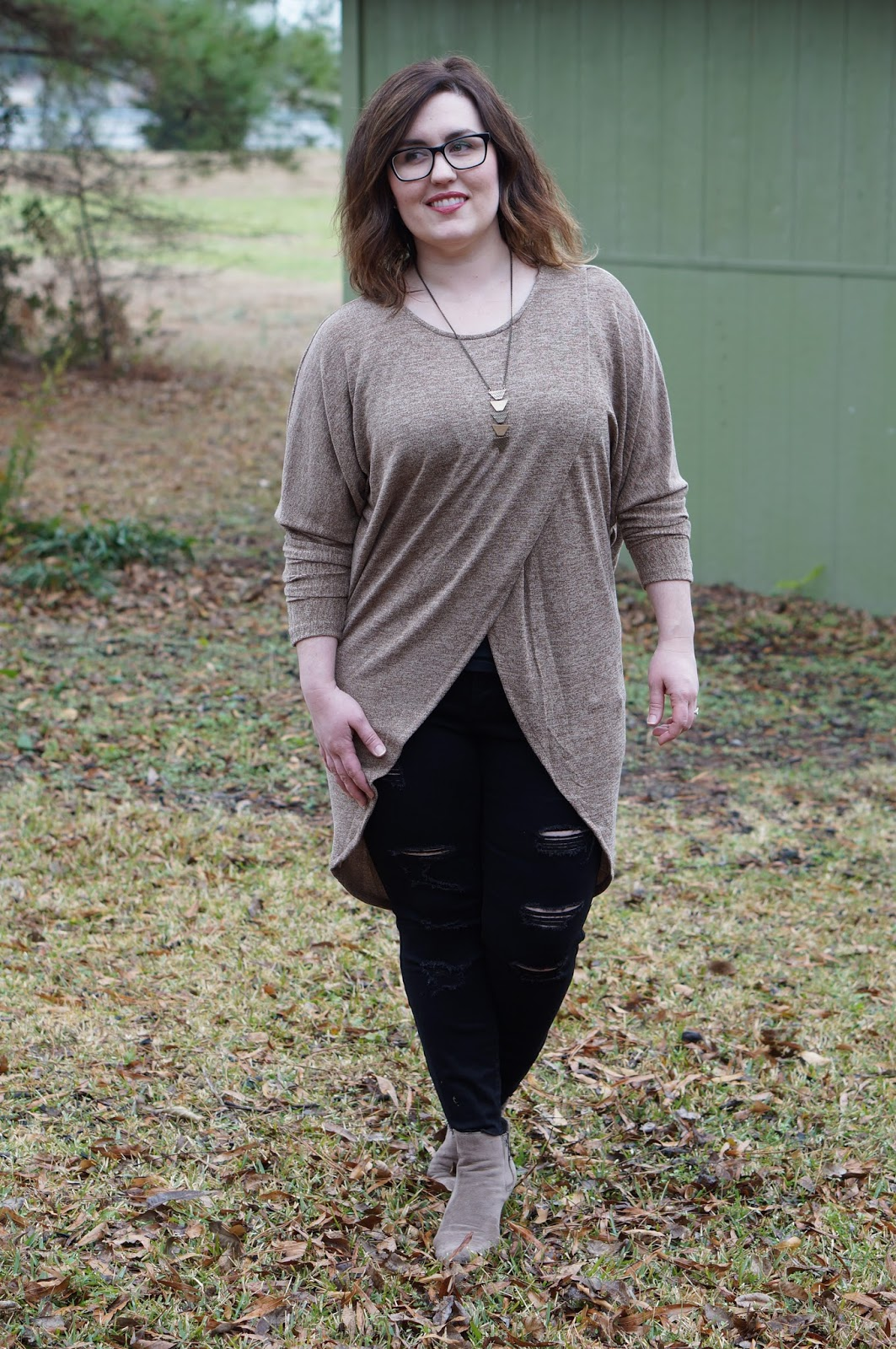 Rebecca Lately Dress Lily Batwing Sweater Old Navy Rockstar Raw-Edge Mid-Rise Jeans Taupe Suede Booties
