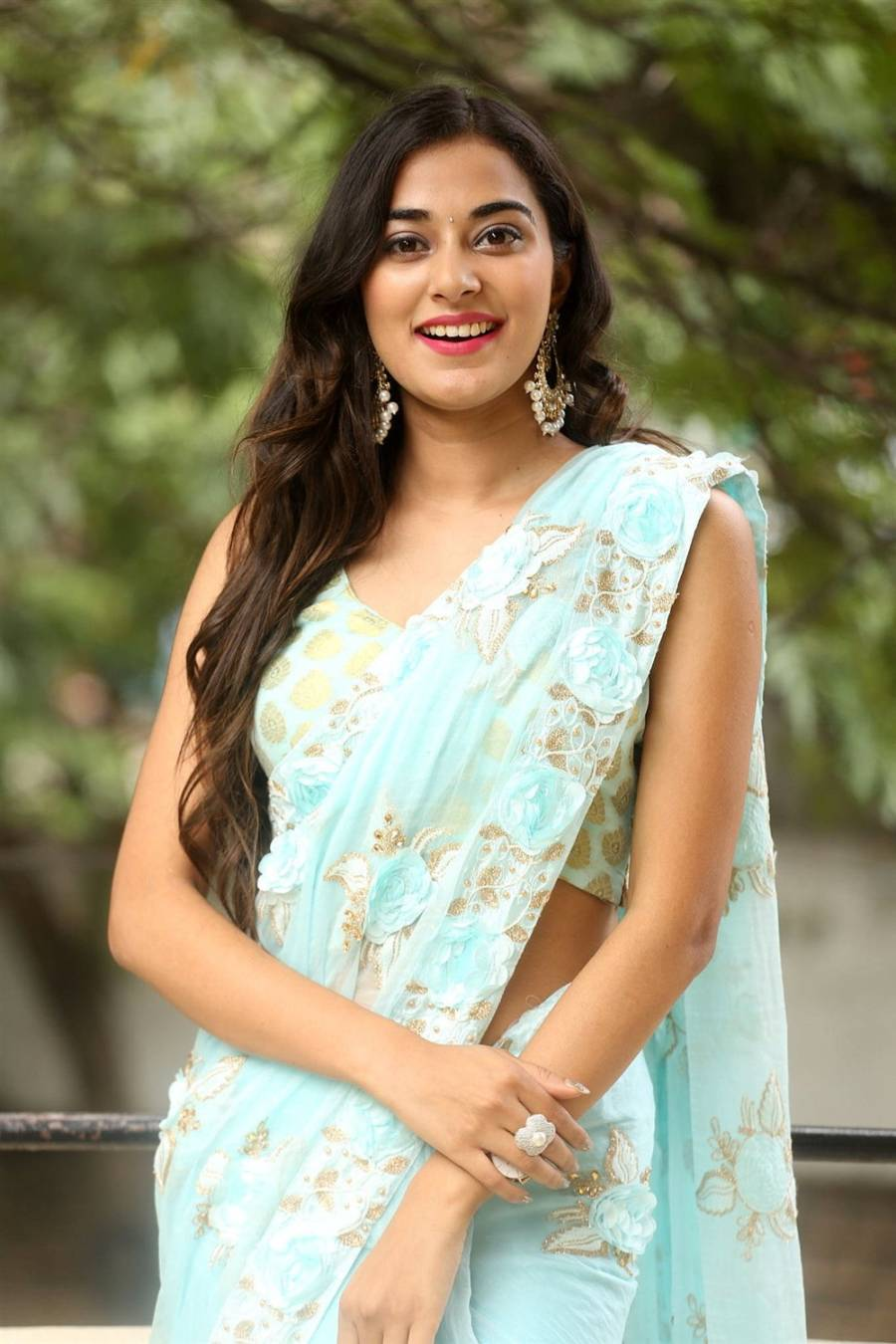 Beautiful Indian Girl Stefy Patel In Transparent Blue Saree