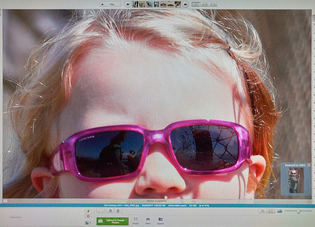 Screen capture of the photo of my daughter wearing sunglasses indicating incorrect colours