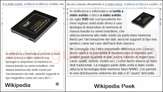 Anteprime link Wikipedia su Firefox con e senza addon
