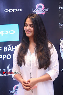Anushka Shetty New Pictures in White Dress at World Of Baahubali Launch