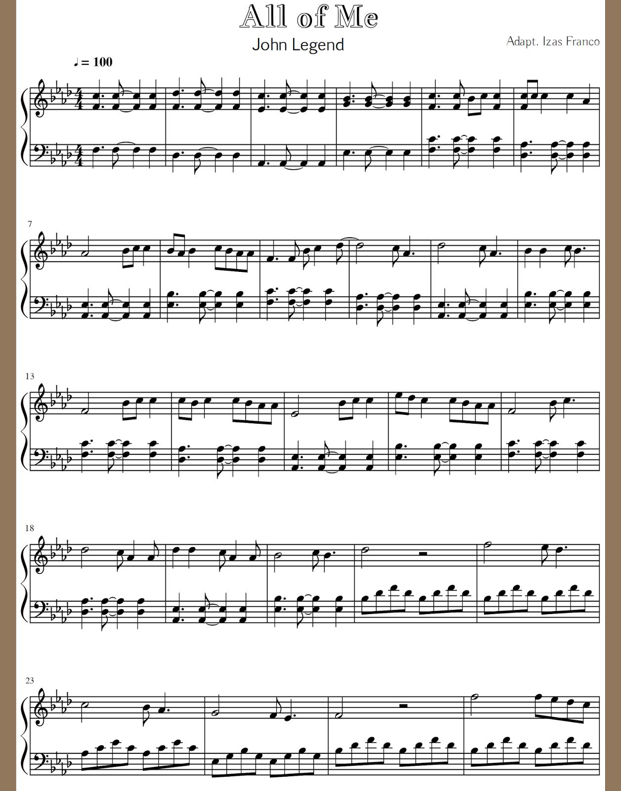 Partitura Para Piano All Of Me Music Ideas