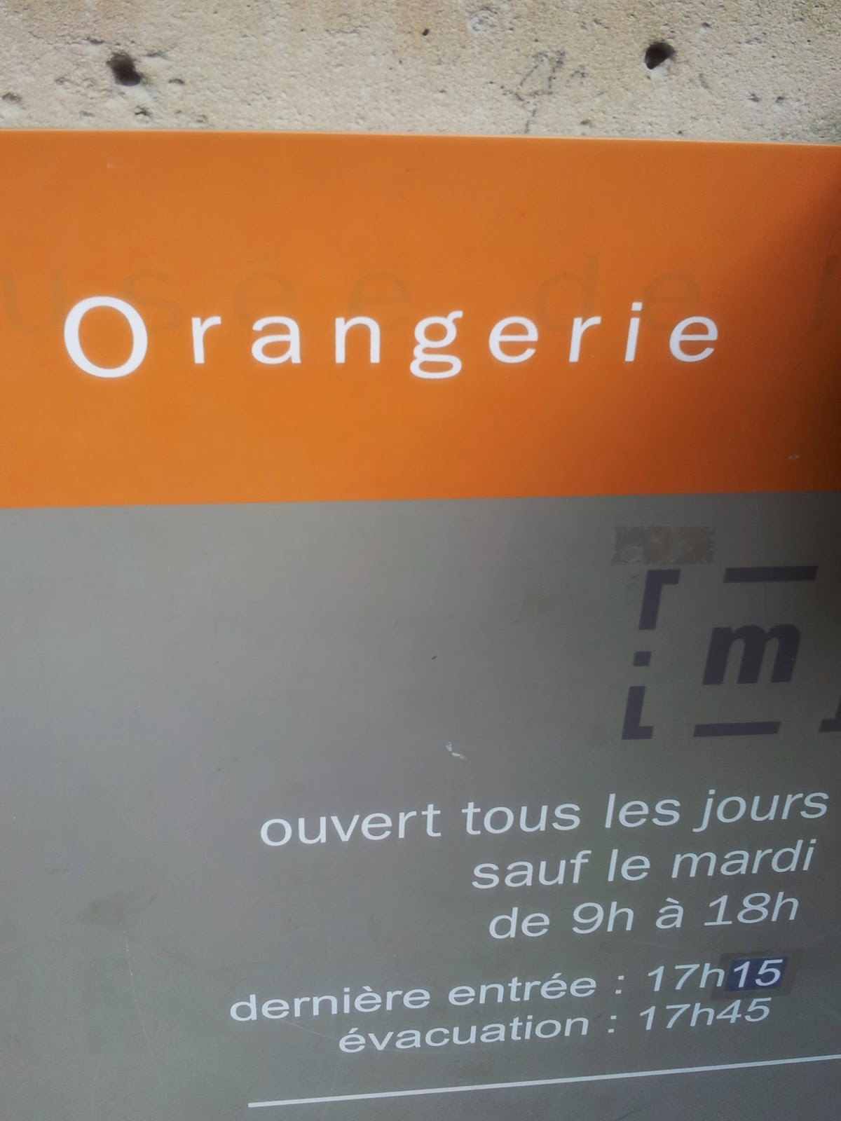 Orangerie museum sign, Paris