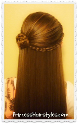 Braided rosette half up hair tutorial