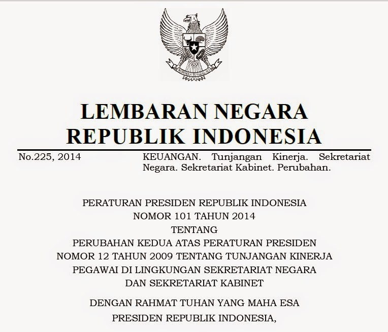 Tunjangan Kinerja Setneg dan Setkab Terbaru (Perpres 101 Tahun 2014)