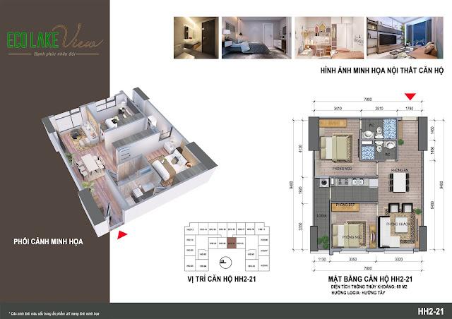 Căn hộ 21, diện tích 69m2 - 2 phòng ngủ