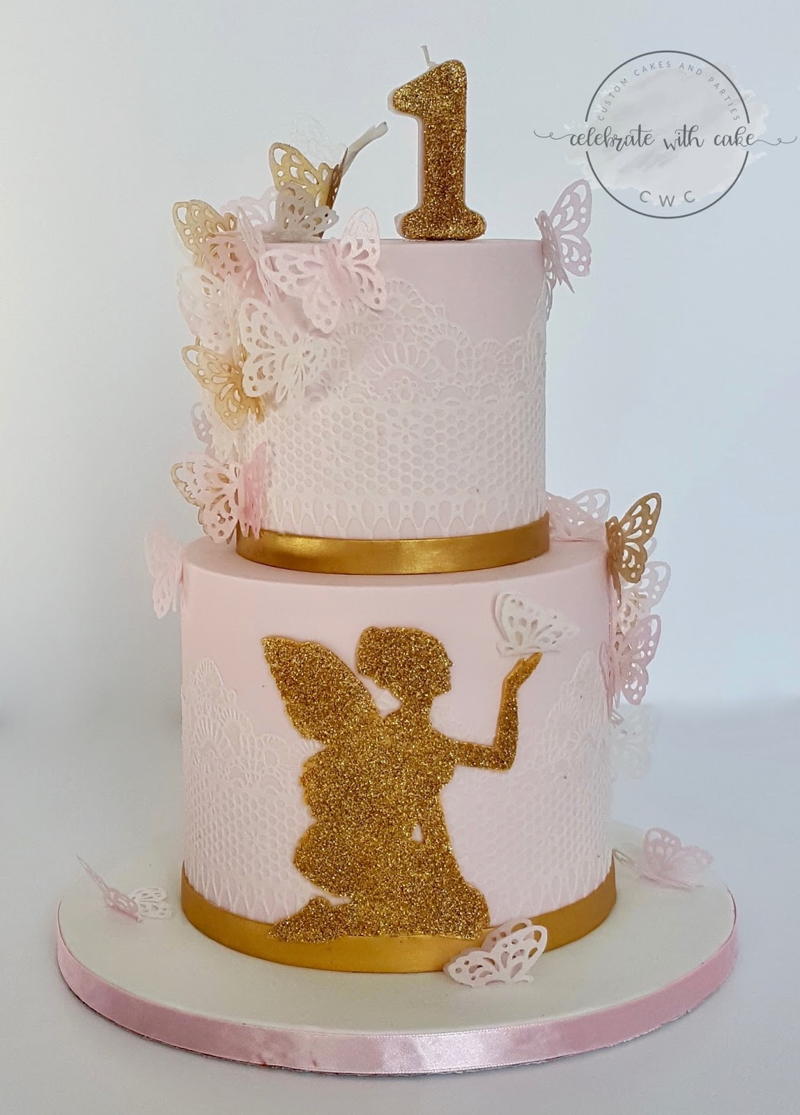 Celebrate With Cake Two Tiers Fairy And Butterflies 1st Birthday