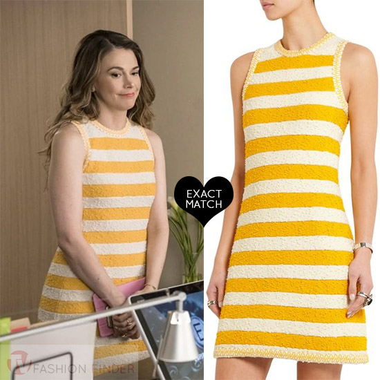 7ca356d3 Sutton Foster in yellow sleeveless mini dress sonia rykiel worn on Younger  season 4 fashion celebrities. Sutton Foster as Liza Miller ...