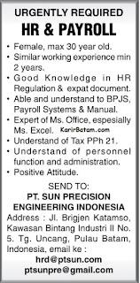 Lowongan Kerja PT. Sun Precision Engineering Indonesia