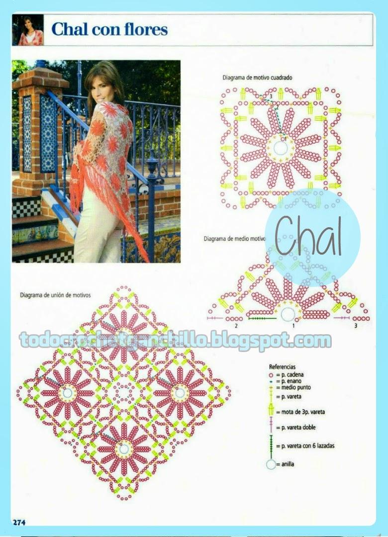 Moderno chal con flores tejido con ganchillo | Todo crochet