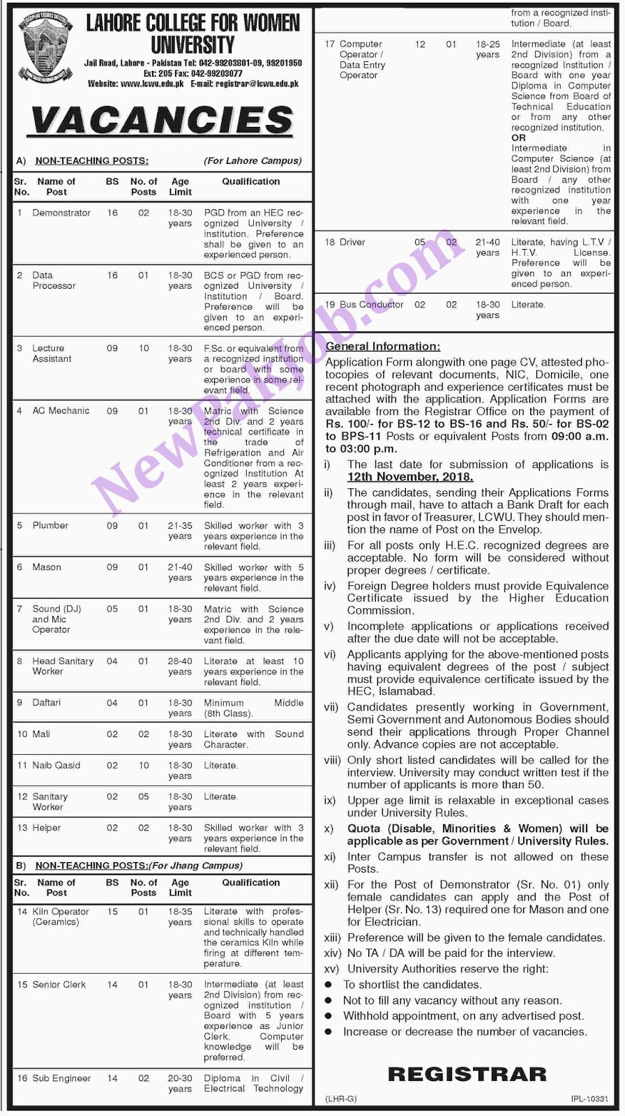 Lahore College for Women University Last Date 12 Nov 18