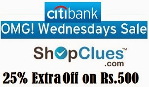 Flat 25% Extra Off on Min Cart Value of Rs.500 @ Shopclues (Valid for CITI Bank Credit / Debit Card) For Today Only