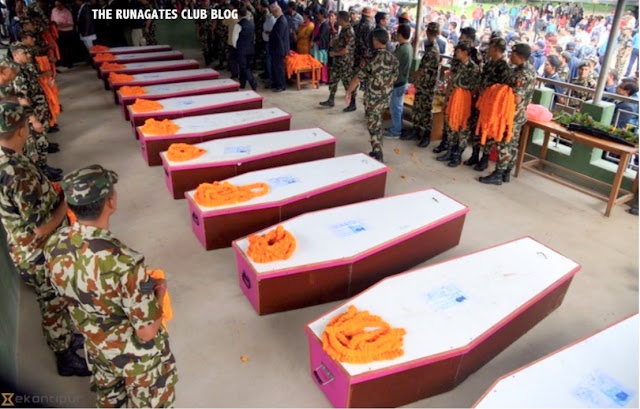 Canadian Embassy Afghanistan - coffins of 14 murdered Gurkha guards