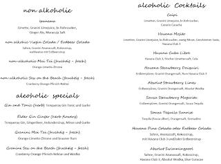 Cocktail Catering Cocktailkarte