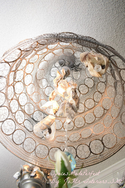 Vintage chandelier decorated with Crystals and Seasonal decor
