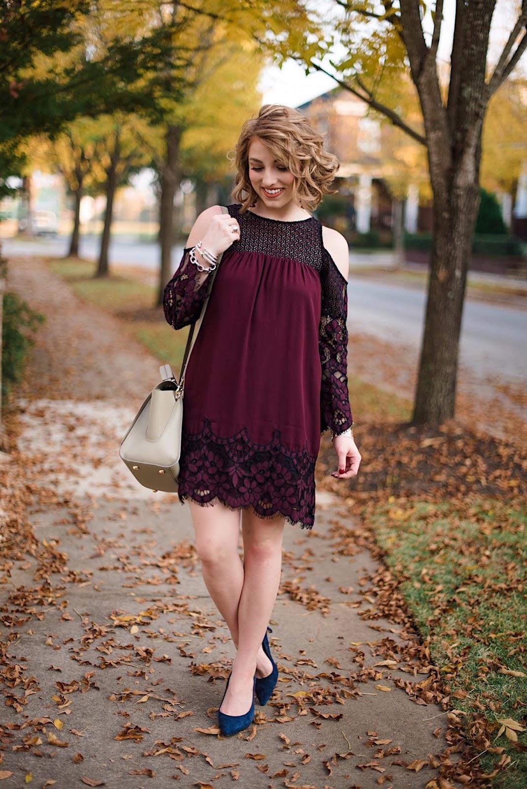 Two Tone Lace Dress (Fall Fashion) - Something Delightful Blog