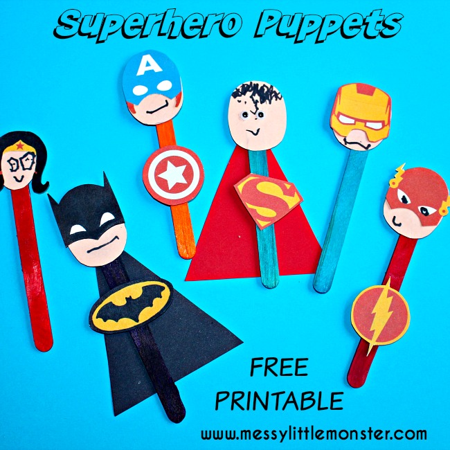 Superhero puppet craft for kids.  FREE printable masks and badges. A perfect craft for boys. Batman, superman, captain america, wonder woman, flash, ironman