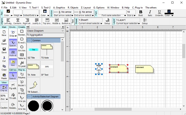 Graphics dynamic draw vector graphics editor it has intelligent linking system by using the keys t and v or will select your arrow line with another key from tool menu ccuart Image collections
