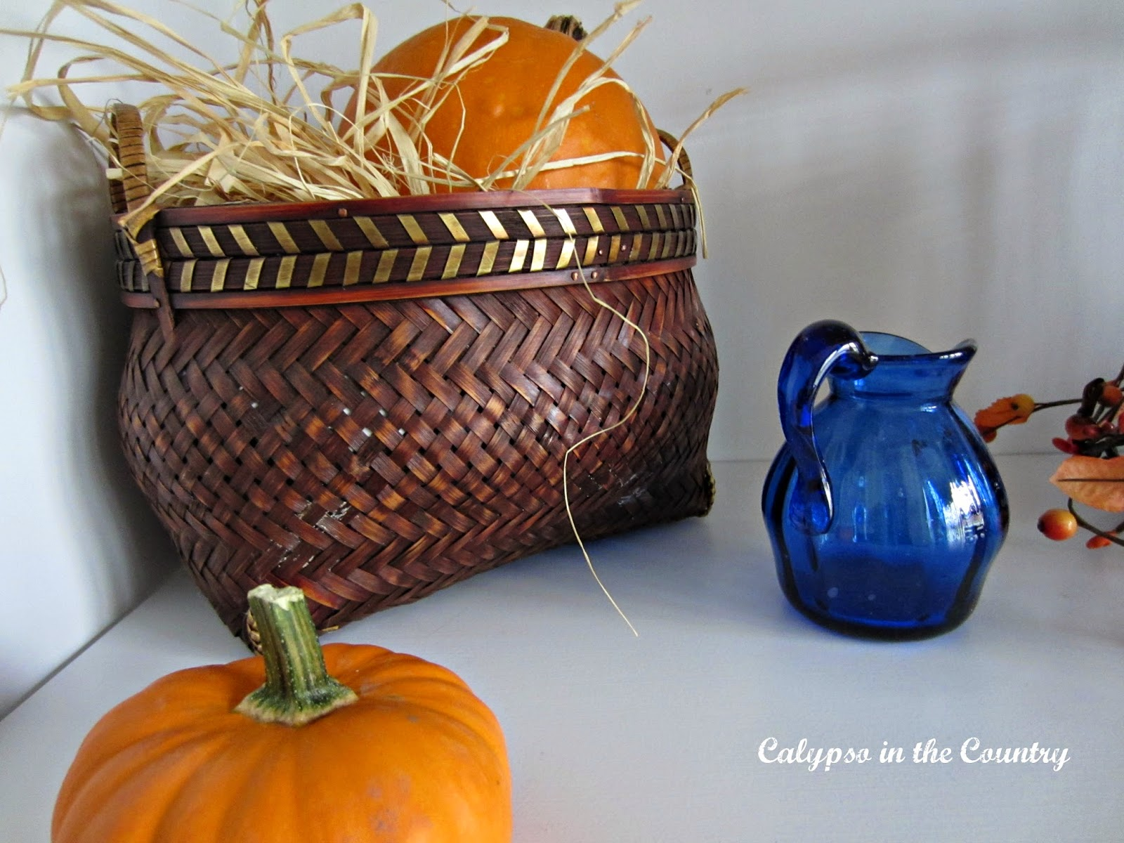 Blue and Orange for fall decorating