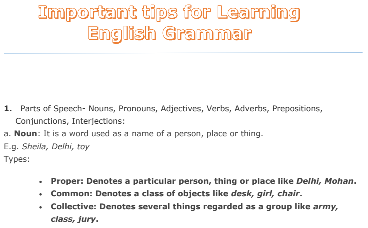 Important Tips for Learning English Grammar PDF Download