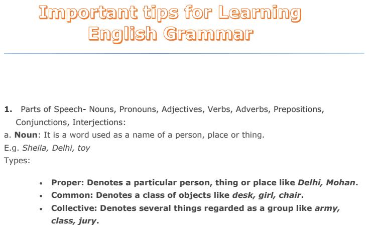Basic tips to learn english grammar