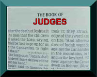 A photo of the first page of the Book of Judges in the Bible with the title Judges in capital letters within a green frame