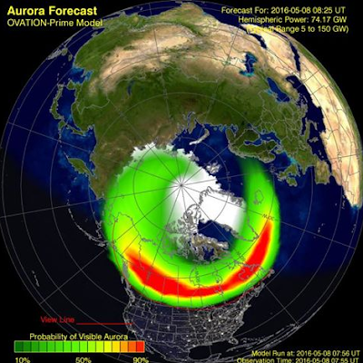 OVATION aurora forecast image north pole