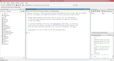 Tampilan aplikasi MATLAB saat pertama dijalankan