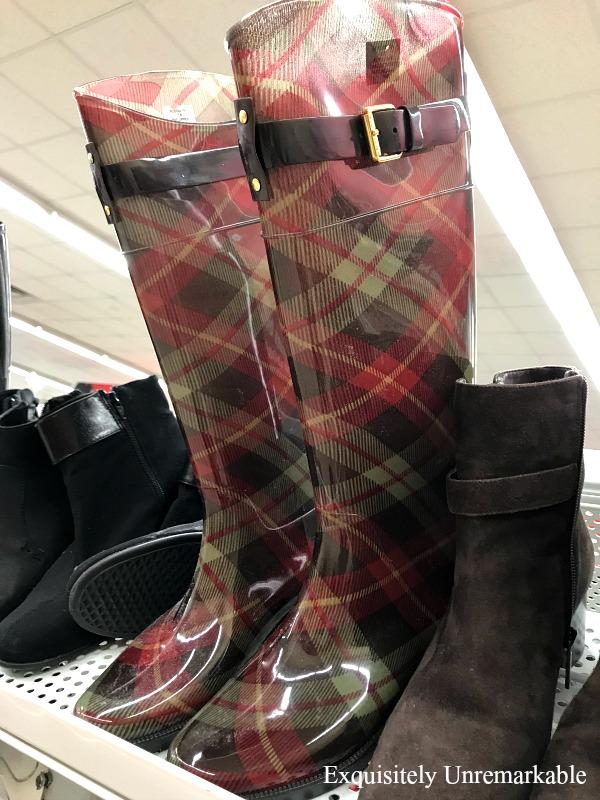 Plaid Rain Boots on a shelf