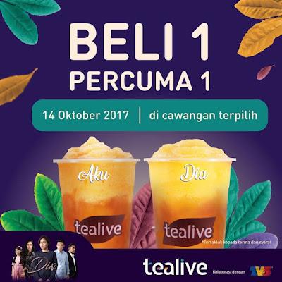 Tealive Buy 1 Free 1 Aku & Dia Drink