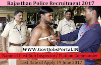 Rajasthan Police Recruitment 2017– Sub Inspector/ Platoon Commander