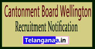 Cantonment Board Wellington Recruitment Notification 2017