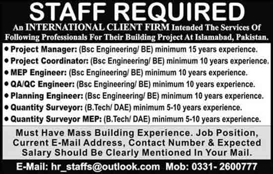 Staff Needed In International Client Firm Islamabad 8 Feb 2017