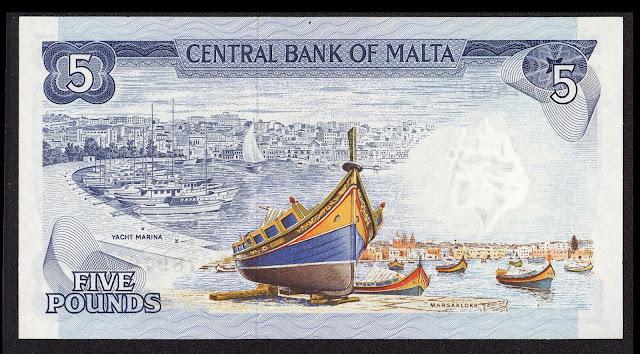 Malta money currency 5 Maltese Lira banknote 1973 Maltese luzzu, Yacht Marina, Marsaxlokk Harbour