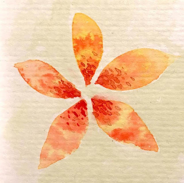 Abstract flower drawn in orange and yellow watercolor. By Boriana Giormova