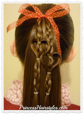 Cute and easy heart hair for Valentine's Day.