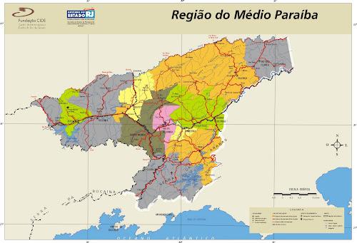 Mapa Região do Médio Paraíba - Rio de Janeiro