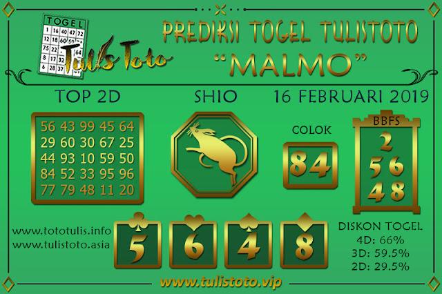 Prediksi Togel MALMO TULISTOTO 16 FEBRUARI 2019