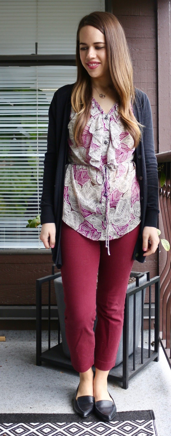 Jules in Flats - Ruffle Front Blouse and Burgundy Pixie Pants
