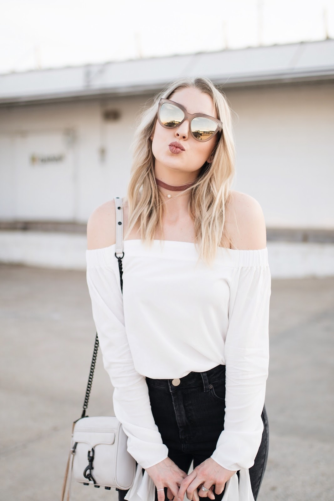 le specs sunglasses, white off-the-shoulder top