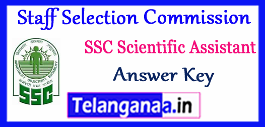 SSC Staff Selection Commission Scientific Assistant Answer Key 2017