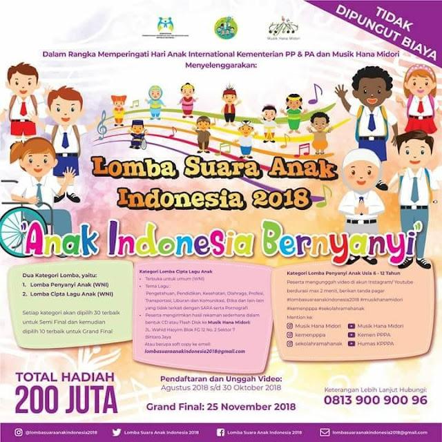 Lomba Suara Anak Indonesia Tahun 2018