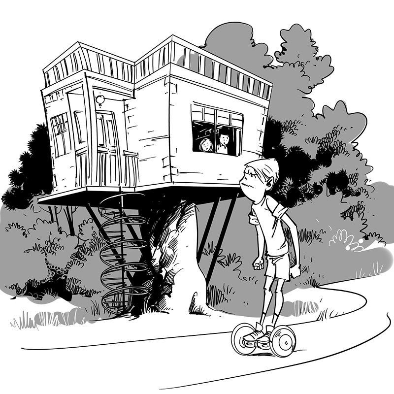 kid's children's picture book black and white line drawing illustration funny tree house