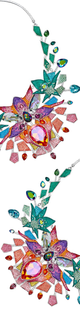 SWAROVSKI LIVELY SPARKLE NECKLACE, MULTI-COLORED RHODIUM PLATING