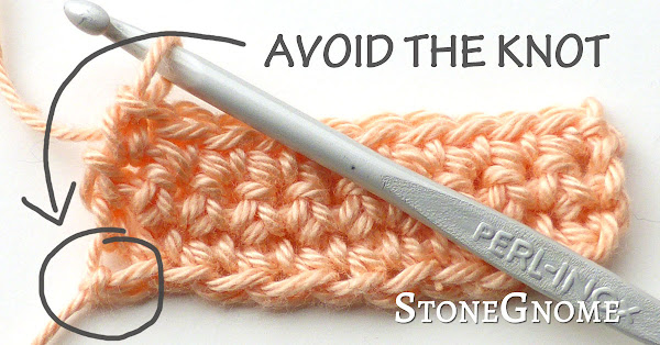 Crochet. Avoid an ugly slip knot in the beginning of your work