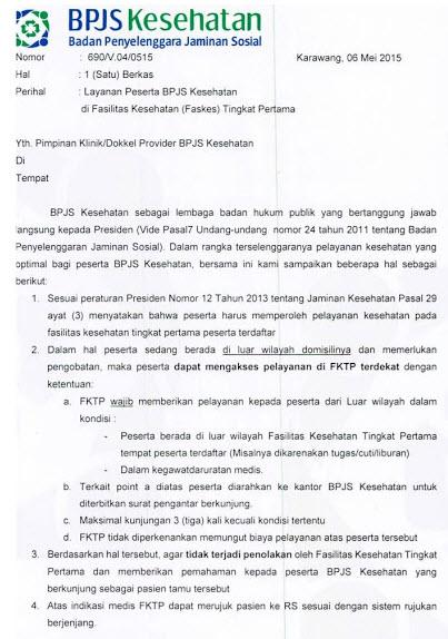 surat edaran bpjs ke seluruh faskes tk1 di seluruh indonesia