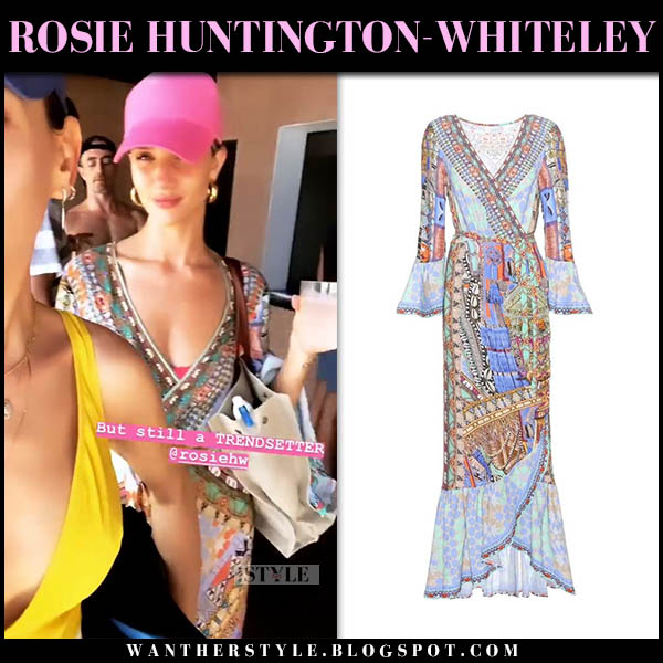 Rosie Huntington-Whiteley in multi-print embellished wrap dress with pink cap model beach style november 14
